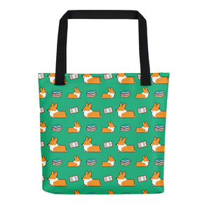 Green Bookworm Corgi Tote Bag