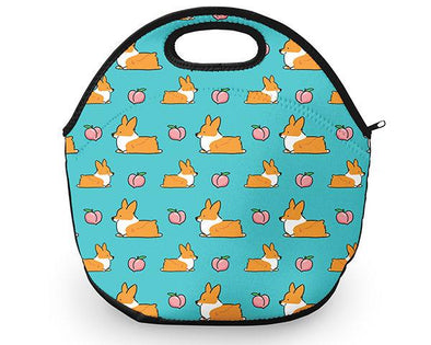 Blue Corgi Peach Sploot Neoprene Fabric Lunch Tote