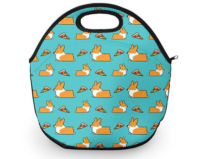 Corgi Pizza Neoprene Fabric Lunch Tote