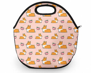 Light Pink Corgi Peach Sploot Neoprene Fabric Lunch Tote