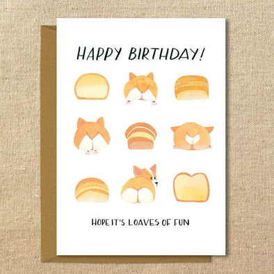 "Corgi Birthday Card // Loaves of Fun // 5x7"" Illustrated Greeting Card // Red and Tri-Color"