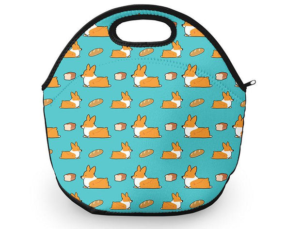 Corgi Bread Loaf Neoprene Fabric Lunch Tote
