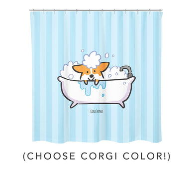 "Corgi Bathtime Shower Curtain | 100% Polyester Water Repellent Fabric 70""x 72"" 