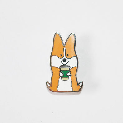 "Corgis + Coffee Enamel Pin | Corgimoji Collectible Series| 1.25"" Tall Hard Cloisonne Enamel Lapel Corgi Pin 