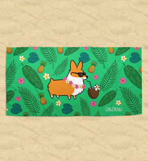Tropical Corgi Beach Towel