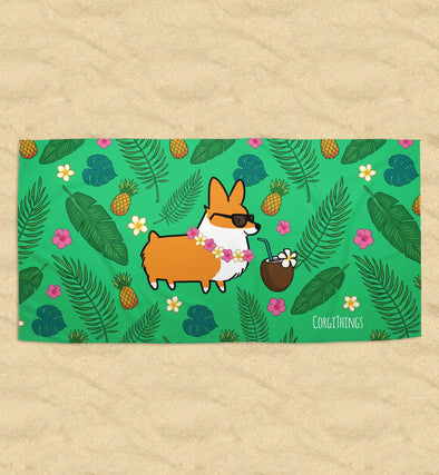 Tropical Corgi Beach Towel | 2 Sizes Available