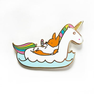 NEW!!! Summertime Loafin' Unicorn Floatie Enamel Pin | Corgimoji Collectible Series | 2 inch Lapel Corgi Pin | Polished Gold Backing