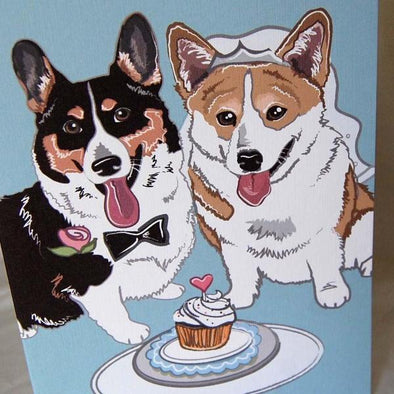 Wedding Corgis Greeting Card