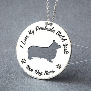 Corgi Disk Necklace