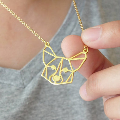 Geometric Corgi Face Necklace