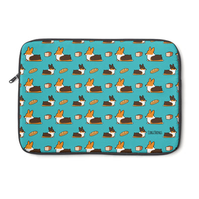 Tricolor Corgi Loaf Sploot Laptop Sleeve | 3 Sizes