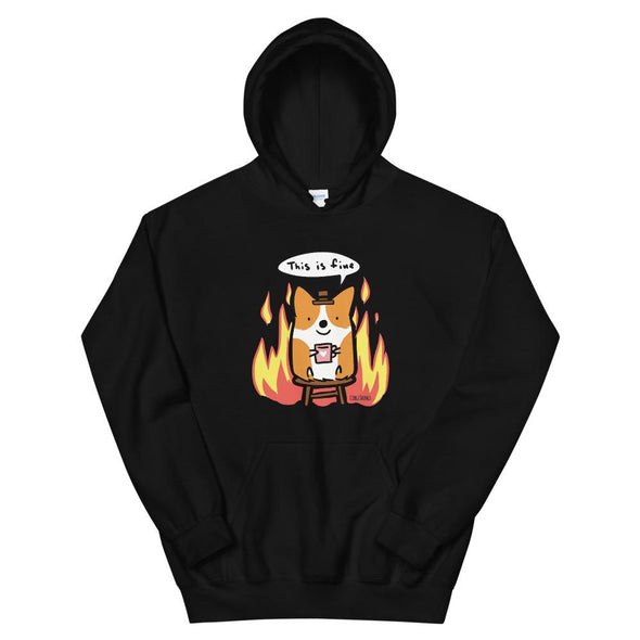 "NEW! ""This is Fine"" Corgi Unisex Hoodie"