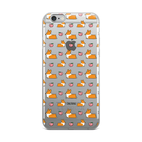 """Peach Sploot"" Corgi Clear iPhone Case"