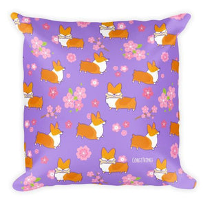 "NEW! ""Cherry Blossom"" Classic Corgi 18x18 Pillow"