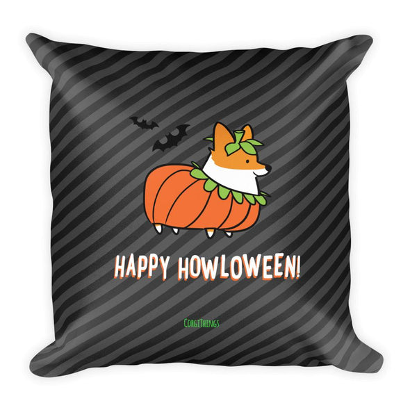 """Corgi Howloween Pumpkin"" 18x18 Square Pillow"