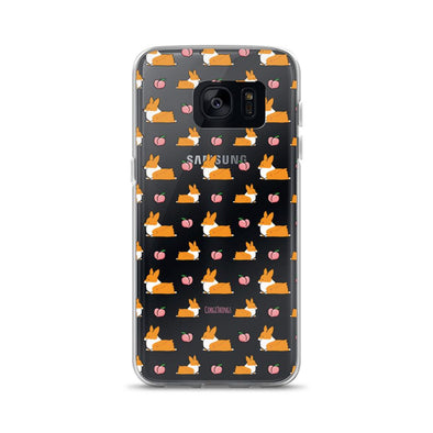 """Peach Sploot"" Corgi Clear Samsung Phone Case"