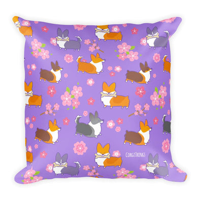 """Cherry Blossom"" Variety Corgi 18x18 Pillow"