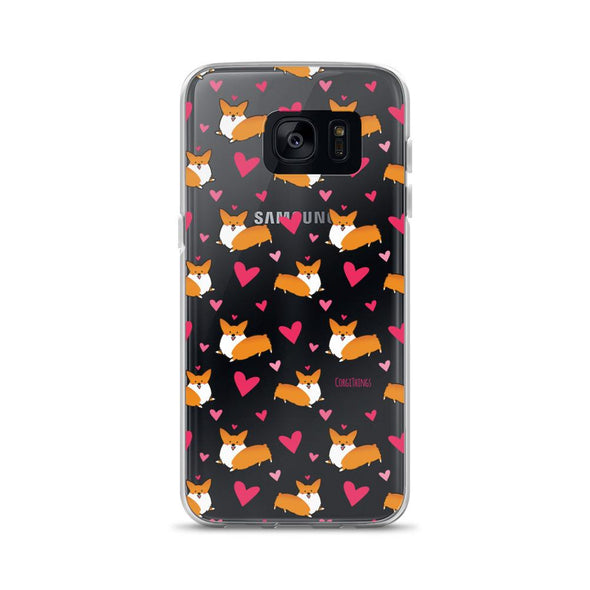 """Happy Hearts"" Corgi Clear Samsung Phone Case"
