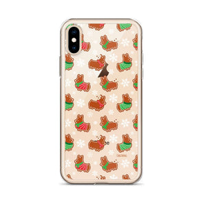 """Gingerbread Corgis"" Clear iPhone Case 