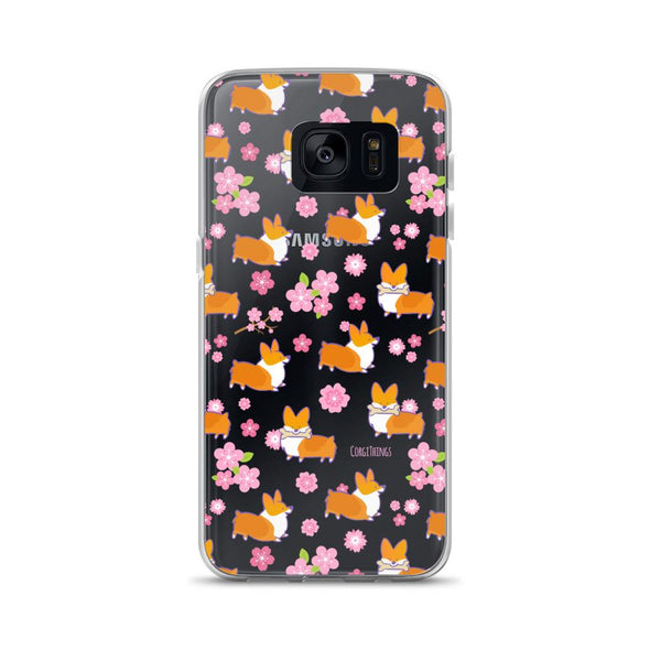 """Cherry Blossoms"" Corgi Clear Samsung Phone Case"