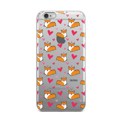 """Happy Hearts"" Corgi Clear iPhone Case"