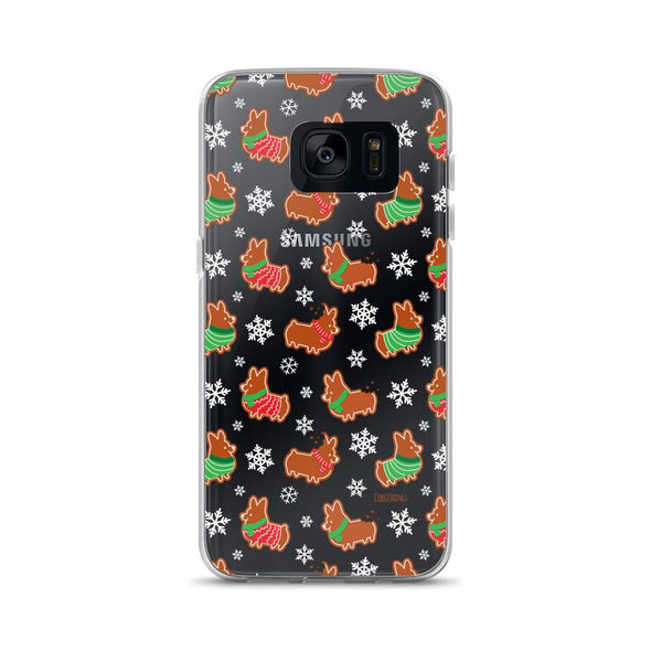 """Gingerbread Corgis"" Clear Samsung Phone Case 