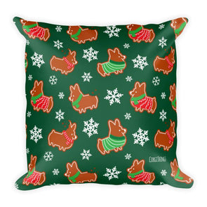 """Gingerbread Corgis"" 18x18 Green Square Pillow 