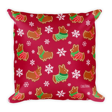 """Gingerbread Corgis"" 18x18 Red Square Pillow 