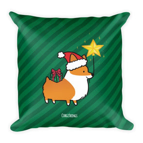 """Happy Howlidays"" Corgi 18x18 Square Pillow 