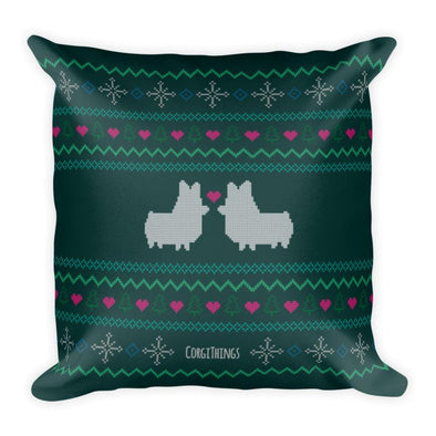 """Corgmas Sweater"" 18x18 Square Pillow 