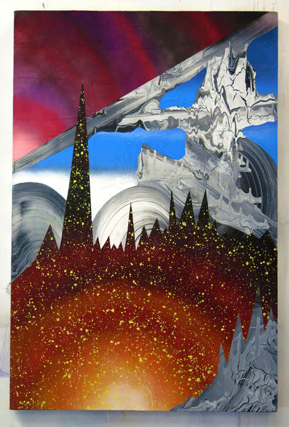 Marc Knowles is a Montreal artist that drips paint to make beautiful landscapes that are science fiction contemporary art explorations