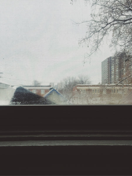 OVERSHARE series photograph by Ottawa artist Julia Martin of a rainy day from a window