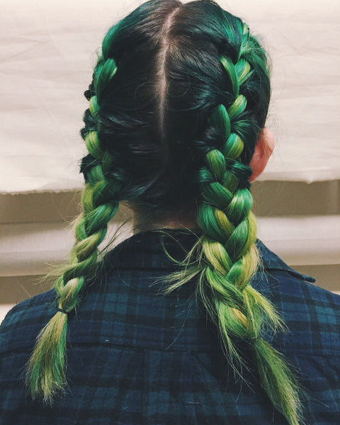 OVERSHARE series photograph by artist Julia Martin of a woman's braided green hair