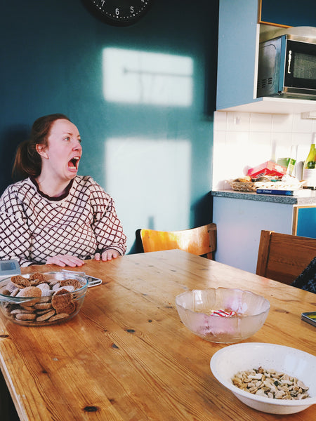 OVERSHARE series photography by ottawa artist Julia Martin of person being dramatic at kitchen table