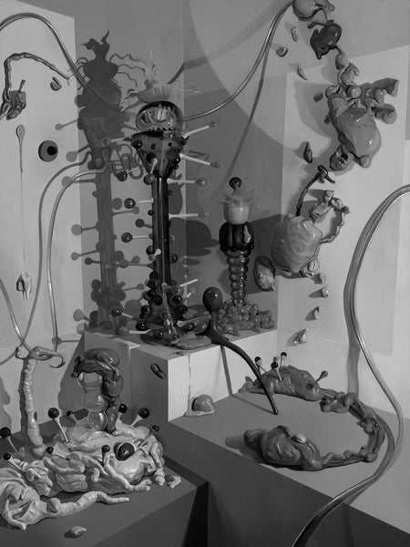 This is Adam Gunn's first photographic print that is a black and white limited edition of 6 signed artwork that features a painted studio set up of his sculpted science fiction styled objects that he paints from.