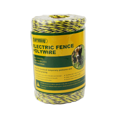 Farmily Portable Electric Fence Polywire 656 Feet 200 Meter 6 Conductor Yellow and Black Color