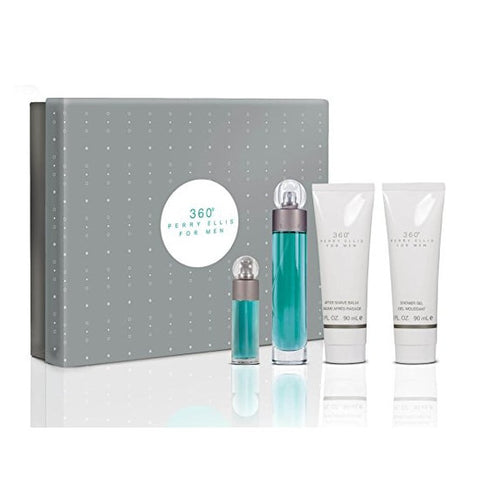 Perry Ellis Fragrances 4-Piece 360 Men Gift Set, 3.4 Fluid Ounce