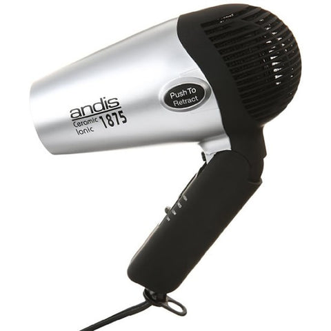 Andis 1875-Watt Fold-N-Go Ionic Hair Dryer , Silver/Black
