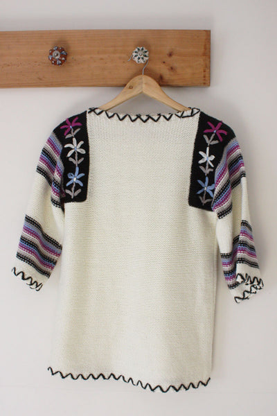 Flower Boat Neck Sweater