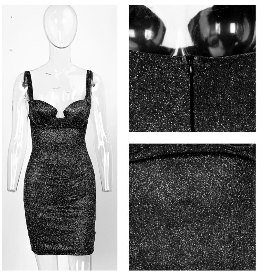4ed7e8beb7d Cocktail Hour Lurex Dress Charcoal – A Little Obsessed London