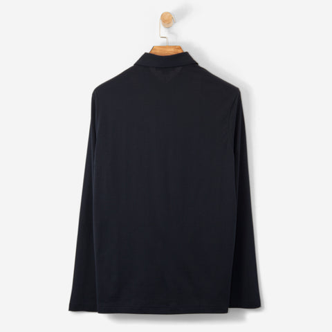 Aquascutum Abner Large CC Front Polo Shirt Navy L/S