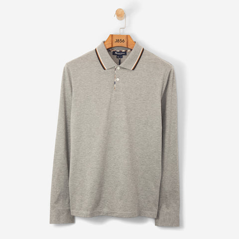 Aquascutum Bert Polo Shirt with Vicuna Tipping/ Grey Melange L/S