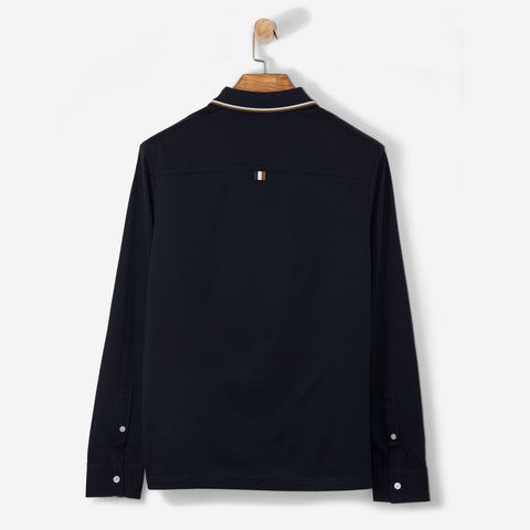 Aquascutum Bert Polo Shirt with Vicuna Tipping/ Navy L/S