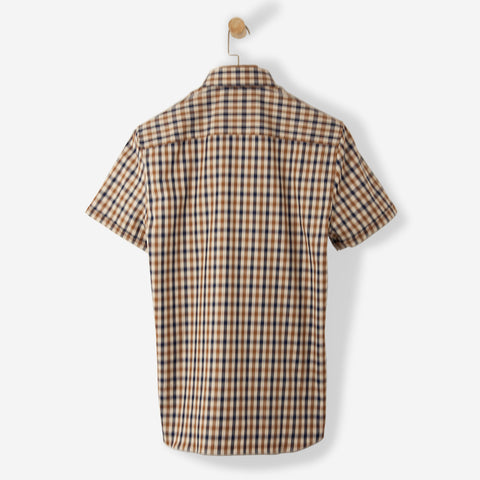 Aquascutum York Club Check Shirt SS Vicuna