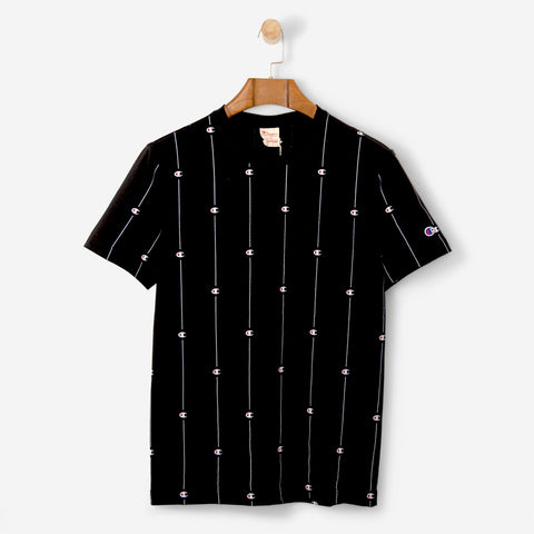 Champion Crewneck Pin Stripe Logo T Shirt Black