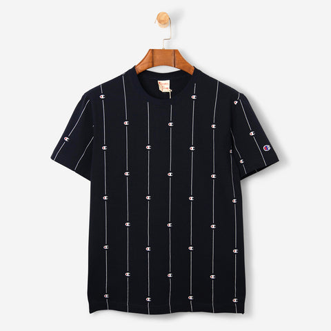 Champion Crewneck Pin Stripe Logo T Shirt Navy