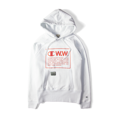 Champion x Wood Wood Box Logo Hooded Sweatshirt White