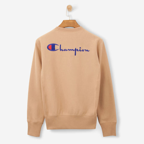 Champion 'C' Logo Back Print Crewneck Sweatshirt Brown