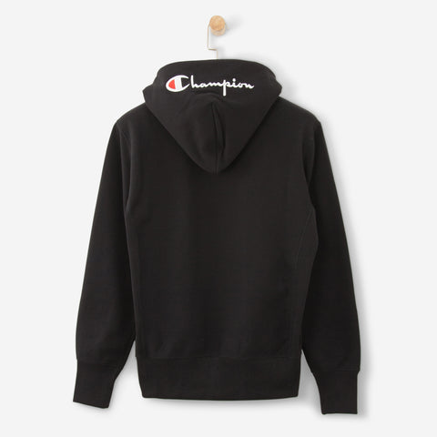 Champion Logo Full Zip Hooded Sweatshirt Black
