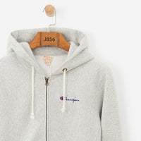 Champion Logo Full Zip Hooded Sweatshirt Grey